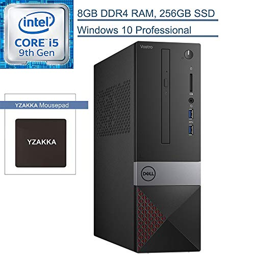 2020 Dell Vostro 3000 Business Small Desktop Computer, 9th Gen Intel Hexa-Core i5-9400 up to 4.1GHz, 8GB DDR4 RAM, 256GB SSD, DVDRW, WiFi, Bluetooth, HDMI, Windows 10 Professional, YZAKKA Mouse Pad