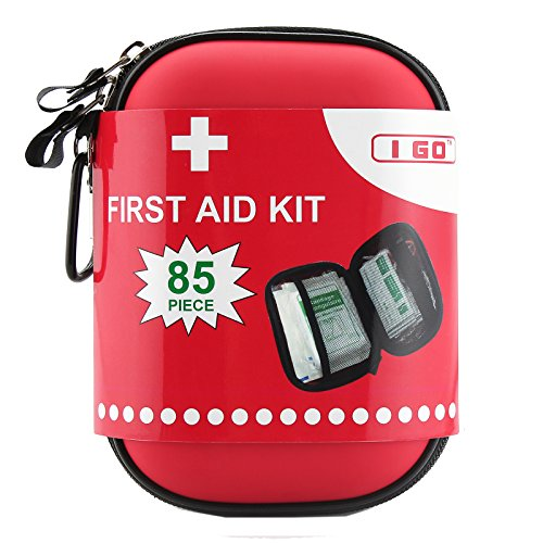 I GO Compact First Aid Kit - Hard Shell Case for Hiking, Camping, Travel, Car -...