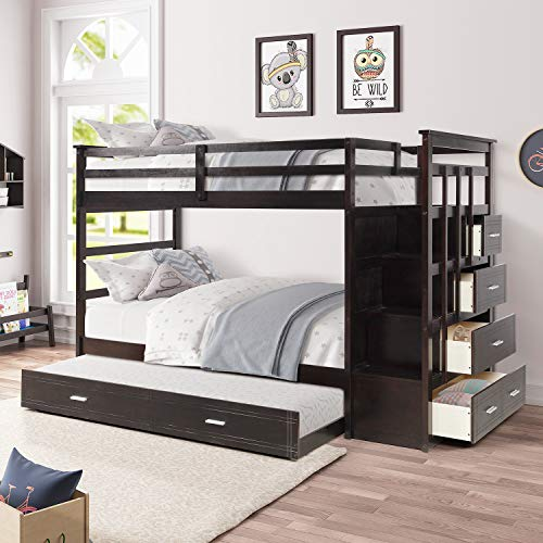 Bunk Beds Twin Over Twin for Kids, Norcia Solid Wood Bed Frame with Trundle and Storage Drawers, Loft System with Stairs, Safety Guard Rail for Child, Teens Best Bedroom Furniture (Espresso)