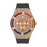 KLFJFD Deportes De Moda Arco Iris Cuadrado Diamante De Imitación Banda De Silicona Reloj Impermeable para Hombres Moda Casual Moda Regalo Reloj De Cuarzo