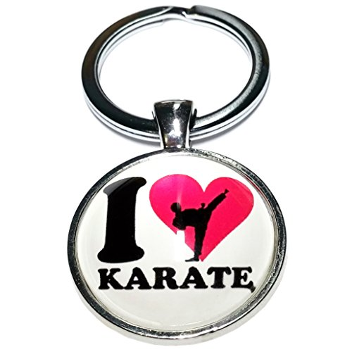 I Love Karaté Noir Sport Combat Porte Clé Métal Cameleon-Shop