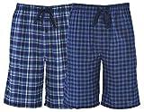 Hanes Men's 2-Pack Woven Pajama Sleep Shorts, Navy Plaid, Medium...