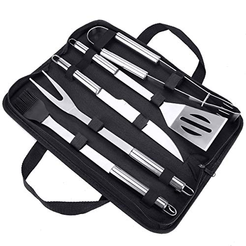 Achort BBQ Tools Set, 5pcs BBQ Grilling Tool Set with Black Case, Stainless Steel Heavy Duty Barbecue Grilling Ideal Accessories Utensils Kit