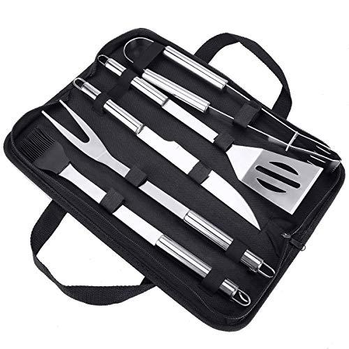 Achort Grillwerkzeug-Set, 5-teiliges Grillwerkzeug-Set mit schwarzem Koffer, robustes Edelstahl-Grillen, ideales Zubehör, Utensilien-Set