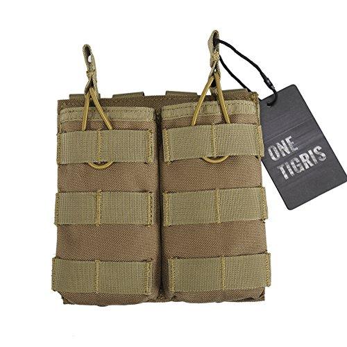 OneTigris Porte Chargeurs Double Tactique Molle en Nylon 1000D pour AR M4 M16 HK416 Airsoft Paintball (Coyote)