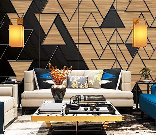 Wallpaper 3D Geometric Wood Grain Photo Wallpaper Living Room Sofa Bedroom Study Decorative Poster 400cmx280cm(157.4x110.2inch) PVC Wallpaper Wall Covering Wallpaper Non-Woven Fabric Wall Sticker