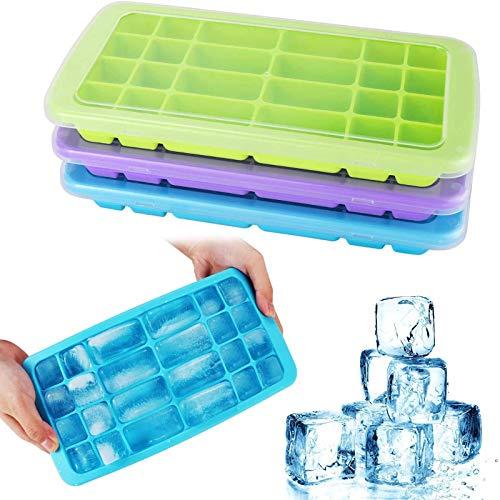 FYILINA Eiswürfelform 3 Stück Silikon Eiswuerfel mit Deckel Silikon Eiswuerfel Pass LFGB Zertifiziert BPA frei Ice Cube Tray für Einfrieren und Aufbewahren von Babynahrung/Babykost (24 Cubes/Stück)