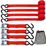 TOPSKY Cambuckle Tie Down Straps, 10' x 1'' Securing Straps, 900lb Break Strength, Red(4 Pack), RTD2003