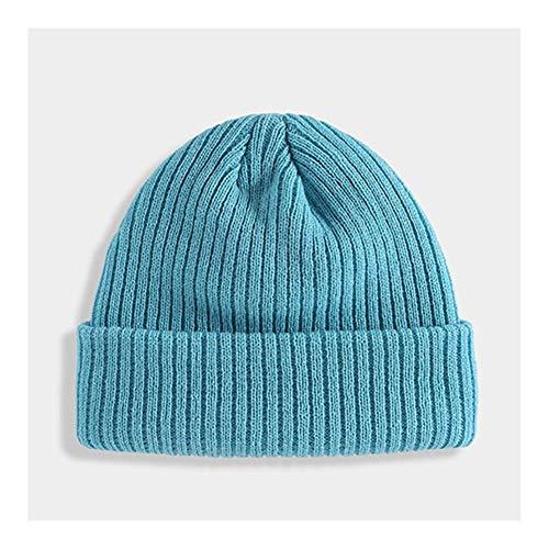 JINSUO NWXZU Winter Strickmütze Winter Skullcap Krempe Hüte Hip Hop Straße Strickmütze Frauen Männer (Color : Water Blue, Size : One Size)