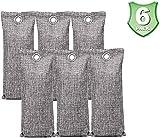 Surfree Bamboo charcoal air purification bag, natural air freshener, dehumidification and odor removal, suitable for bathroom, kitchen, wardrobe, car. (100g*6)
