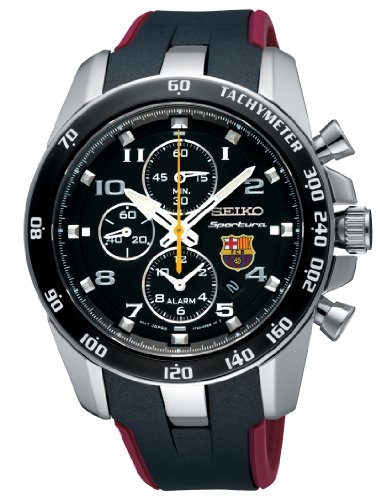 Seiko Sportura FC Barcelona Chronograph Black Dial Mens Watch SNAE93: Watches