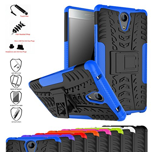 Lenovo Phab 2 Case,Mama Mouth Shockproof Heavy Duty Combo Hybrid Rugged Dual Layer Grip Cover with Kickstand for Lenovo Phab 2 Smartphone(with 4 in 1 Packaged),Blue