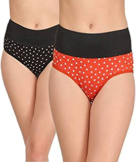 Embibo Women's Hipster Black, Orange Panty