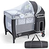 COSTWAY Portable Travel Cot, Foldable Baby Bassinet and Activity Playpen with Changing Table, Music Box, Detachable & Adjustable Net, Carry Bag, Multifunctional Nursery Centre for Infants Toddlers
