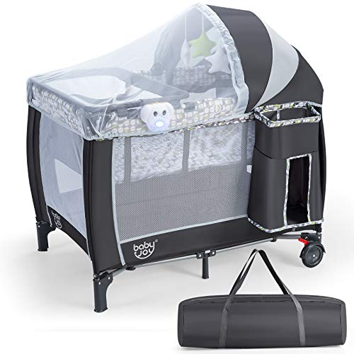 BABY JOY 3 in 1 Portable Baby Playard, Pack and Play Nursery Center with Bassinet, Detachable& Adjustable Net and Changing Table, Foldable Play Yard with Music Player, and Carrying Bag (Grey)