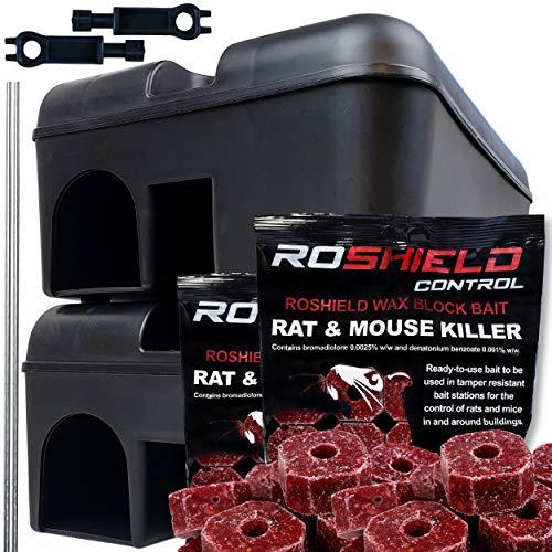 Roshield External Tamper Proof Rodent Boxes & Wax Bait Rat Killer Block Kit...