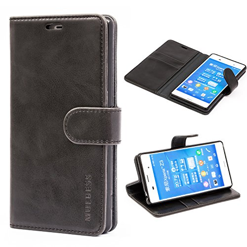 Mulbess Funda Sony Xperia Z3 [Libro Caso Cubierta] [Vintage de Billetera Cuero] con Tapa Magnética Carcasa para Sony Xperia Z3 Case, Negro