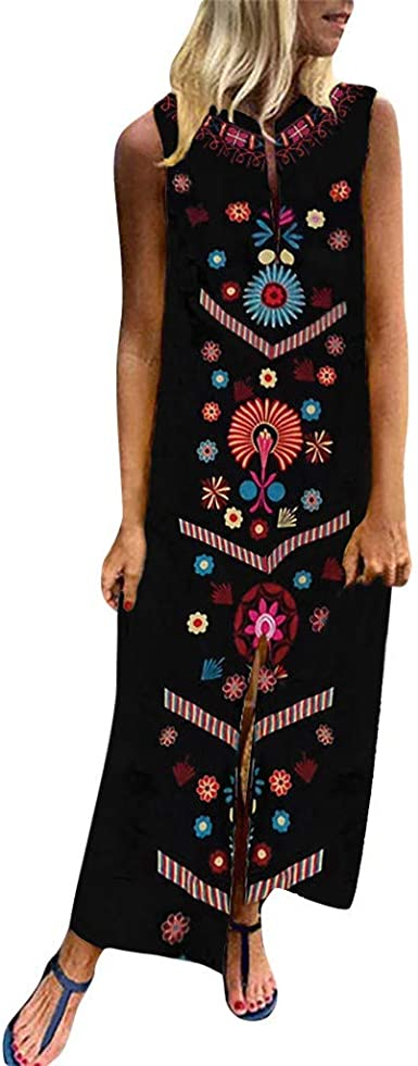 ZODOF Mujer vestido largo Bohemian estilo ropa de playa Otoño Mujer estampado largo decuello en V y manga larga con dobladillo dividido largo holgado ...