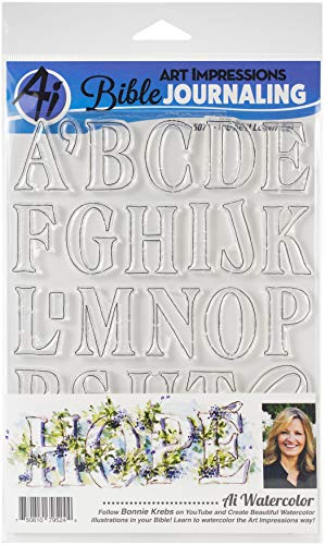 Art Impressions Bible Journaling Watercolor Clear Stamps-Wc Serif Letters