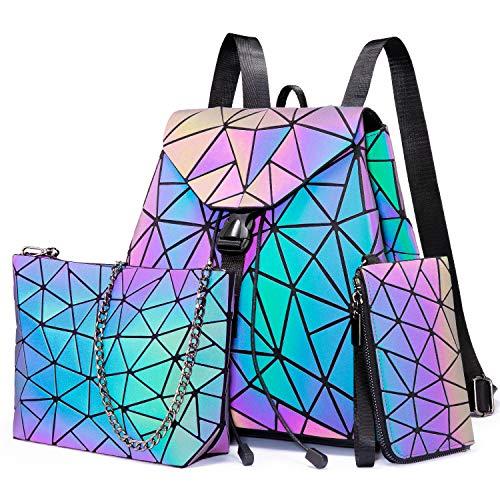 LOVEVOOK Geometrischer Rucksack Set Damen, Holographic Reflektierende Damenrucksack Leuchtend Tasche Daypack, 3pcs Backpack Umhängetasche Geldbörse, für Schule Uni Reise Party