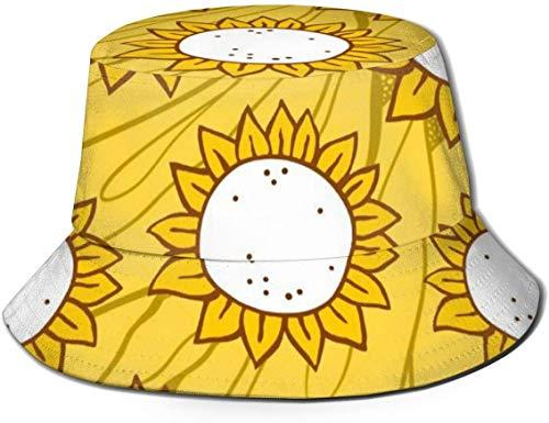 Sombreros de Cubo Transpirables con Parte Superior Plana Unisex Sombrero de Cubo de Cisne Sombrero de Pescador de Verano-Diseño Floral de Girasol-Talla única