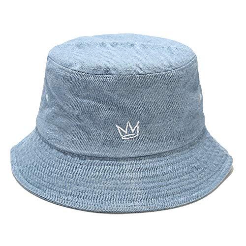 Umeepar - Cappello da spiaggia ricamato 100% cotone, da donna, da uomo - blu - Taglia unica