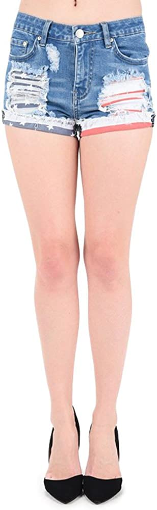 G-Style USA Women's American Flag Denim Shorts - M1A