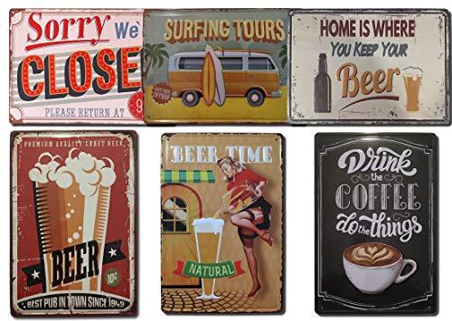 Chapas Decorativas Vintage [ Bar, Cafetería, Restaurante, Cocina ] Pack de 6 Chapas con Relieve   Placas Metálicas Retro para Pared   20x30 cm