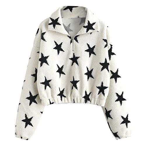 ZAFUL Damen Stern Grafik Pullover Halb Zip Faux Pelz Sweatshirt Drop Schulter Crop Sweatshirt Kurz Jacke Mantel M