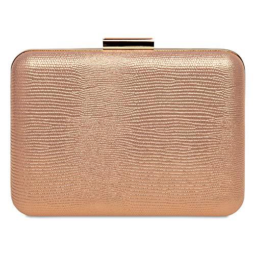 Caspar TA529 elegante Damen Snake Skin Box Clutch Tasche Abendtasche, Farbe:roségold, Größe:Einheitsgröße