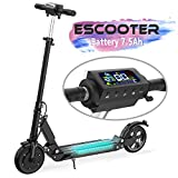 Electric Scooter Adult, 7.5Ah 30Km Long-Range Battery, 350W Motor Up to 30 km/h, 8 Inch Solid Rubber Tire, Foldable E-Scooter Portable &Lightweight Design