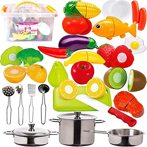 FUNERICA 45-Pieces Kitchen Pretend Play Food Toys with Stainless Steel Pots & Pans, Cooking Utensils, Storage Bin, Knife, Cutting Board, Cutting Vegetables, Meat & Fish for Kids, Girls, Boys, Toddlers
