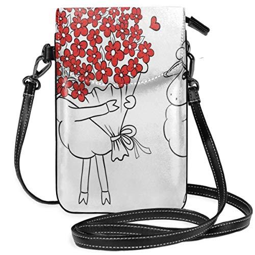 Trista Bauer Femmes Petit téléphone Portable Sac à Main bandoulière, Croquis Couple Tenant Un Coeur géant Abstrait Mignon Petits Personnages Amoureux
