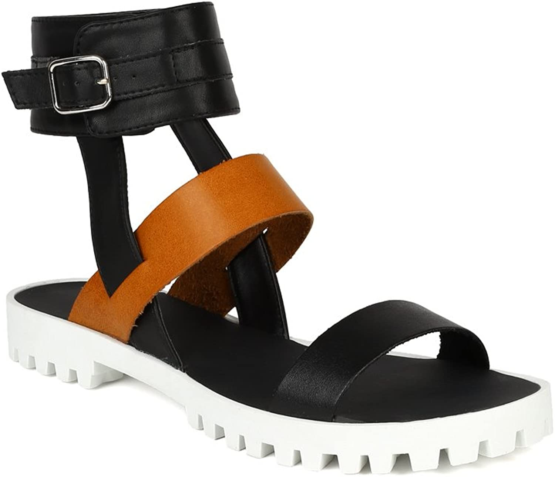 Qupid New Women Leatherette Two Tone Ankle Cuff Gladiator Flat Sandal BJ26 - Black
