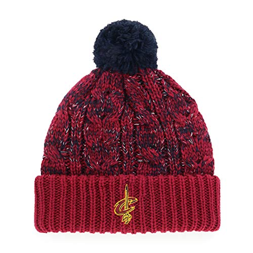 OTS NBA Cleveland Cavaliers Women's Brilyn Cuff Knit Cap with Pom, Team Color, Women's