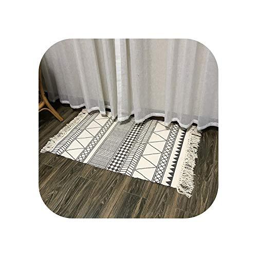 Graphite Grey Area Rug |Baumwolle Leinen Teppichmatten Wohnzimmer Schlafzimmer Teppiche Nordic Geometric Küche Badezimmer Quaste Matten Dekoration Sofa Bodendecke-02-60x130cm
