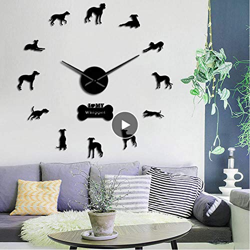 guyuell Retrato de Perro Whippet de Gran tamaño 3D acrílico DIY Reloj de Pared Galgo Italiano Canino Animal Espejo Efecto Pegatinas de Pared Reloj Reloj-Black_27inch