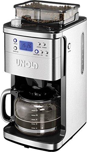 Unold Kaffeemaschine Edelstahl, Schwarz Fassungsvermögen Tassen=12 Display, Glaskanne, Timerfunktio