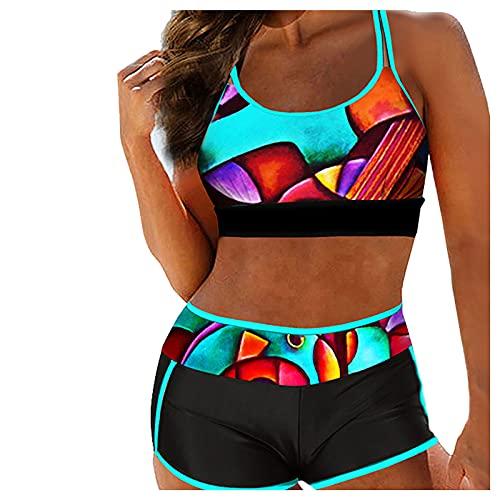 Bañadores Mujer 2024 Atractivo Bikinis Mujer con Estampado de Dos Piezas Traje de Baño con Correas Ajustables y Relleno Ropa de Baño de Cuello en Redondo Swimsuit Ideal para Piscina,Playa,Mar