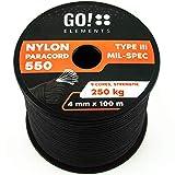 GO!elements 100m Paracord Seil aus reißfester Nylonschnur - 4mm Paracord 550 Typ III Schnur - geeignet als Allzweckseil & Reepschnur | Max. 250kg, Farbe:Schwarz