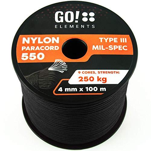 GO!elements 100m Paracord de Nylon a Prueba de desgarros - 4mm Paracord...