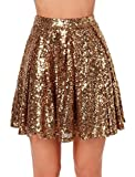 Weyeei Donna Mini Gonna Paillettes Estate Partito Campana Clubwear Gonne (Oro, S)