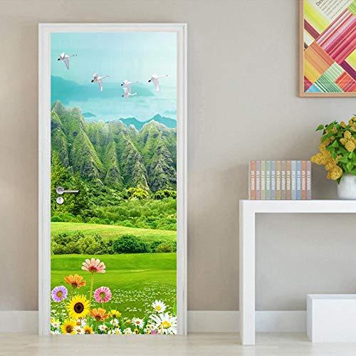 3D Türaufkleber PVC Selbstklebende Wasserdichte Grüne Natur Abnehmbare Art Decals TürPoster für Wandbild Wohnzimmer Schlafzimmer Badezimmer Dekoration 77x200 cm