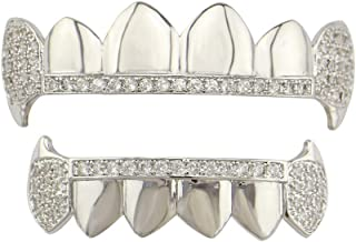 YKPG Teeth Set - Plated Gold Cruz Diamonds Grillz - Excellent Cut for All Types of Teeth – Top and Bottom Grill Set - Hip Hop Bling Grillz (Color : Silver)