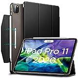 ESR iPad Pro 11 ケース 2020 オートスリープ/ウェイク [Apple Pencil 2 ワイヤレス充電対応] 軽量 留め具付き イッピー三つ折りスマートケース iPad Pro 11インチ 2020用ハード背面カバー(ブラック)