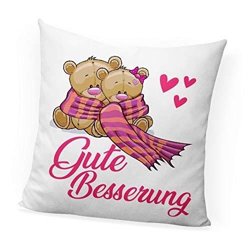 clothinx Gute Besserung Rosa Bärchen Deko-Kissen mit Füllung Bedruckt Perfekt Als Genesungswunsch für Mädchen und zum Aufenthalt im Krankenhaus