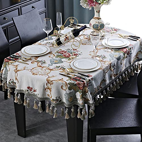 SUHETI Tovaglia Jacquard con Ricamo Fiore Ovale, Copritavolo in Ciniglia in Stile Europeo, per la Decorazione del Tavolo da Pranzo in Cucina,C,110x170cm