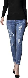 Mujer Pantalones Ajustados Cintura Elástica Mezclilla Vaqueros Tapered Ocio Jeans