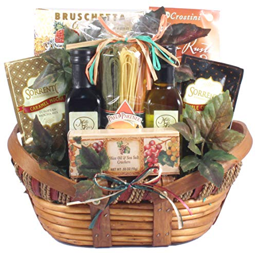 The Vineyard - Gourmet Italian Gift Basket with Artisan Pasta, Linguini, Olive Oil in Classic Wooden Basket, 8 Pounds