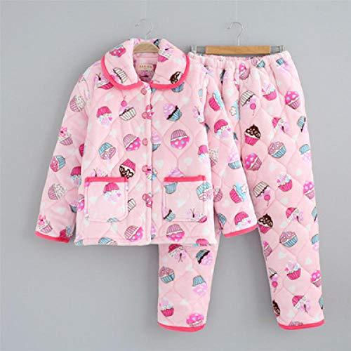 BAIMM Invierno Coral Terciopelo señoras Tres Capas Caliente Pastel Postre Engrosamiento Conjunto Pijama Acolchado Servicio a Domicilio .XL
